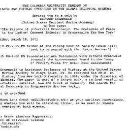 Announcements, 2001-03-15. ...