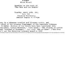 Announcements, 2001-04-10. ...
