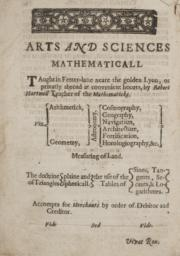 First page of treatise entitled, 'Arts and Sciences Mathematicall'