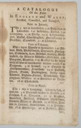 A Catalogue of the fairs in England and Wales; Unnumbered page, recto