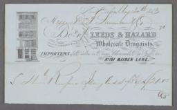 Leeds & Hazard, Wholesale Druggists, No. 121 Maiden Lane, Bill/Receipt