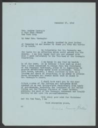 Typed letter signed to Louise Whitfield Carnegie