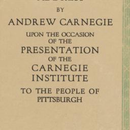 Address by Andrew Carnegie ...