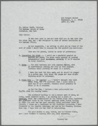 Letter from Ulysses Kay to Walter Hendl regarding a music commission