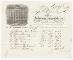 Anderson, Sargent & Co.. Bill - Recto