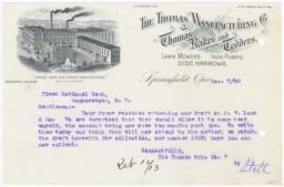 Thomas Manufacturing Co.. Letter - Recto