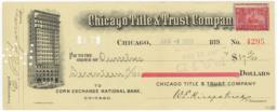 Chicago Title & Trust Company. Check - Recto
